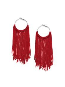 Long Tassel Hoop Drop Earrings