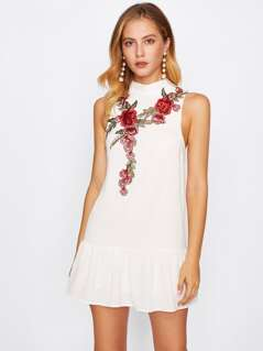 Embroidered Applique Ruffle Hem Dress
