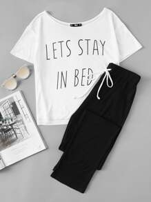 Slogan Print Tee And Sweatpants Pajama Set