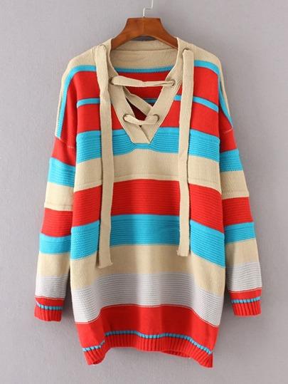 Color Block Lace Up V Neckline Jumper Sweater