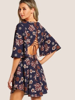 Lace Up Back Bell Sleeve Self Tie Dress