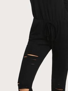 0974b64ffcc Off Shoulder Distressed Sweatshirt Jumpsuit