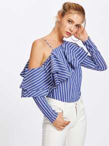 Layered Flounce One Shoulder Striped Blouse