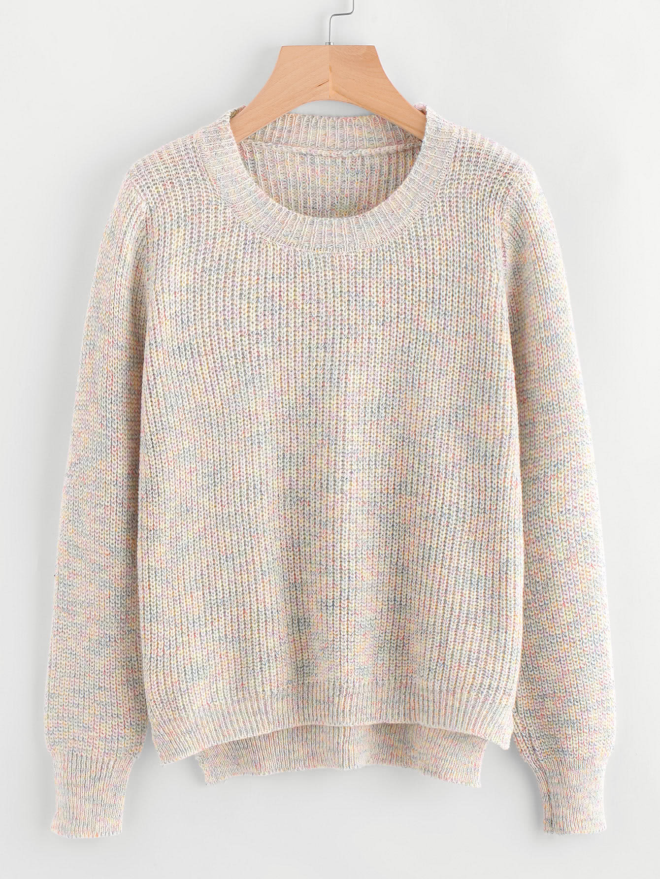 Dip Hem Textured Knit Sweater