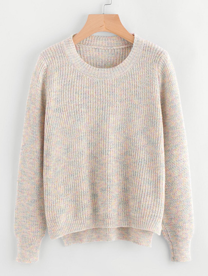 Dip Hem Textured Knit Sweater