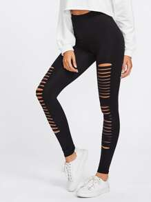 Ladder Cutout Empire Skinny Leggings
