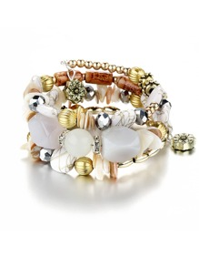 Mix Shape Charm Beaded Layered Bracelet
