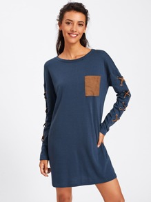 Drop Shoulder Grommet Crisscross Pocket Front Tee Dress