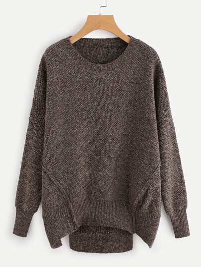 Cut Out Hem Drop Shoulder Sweater