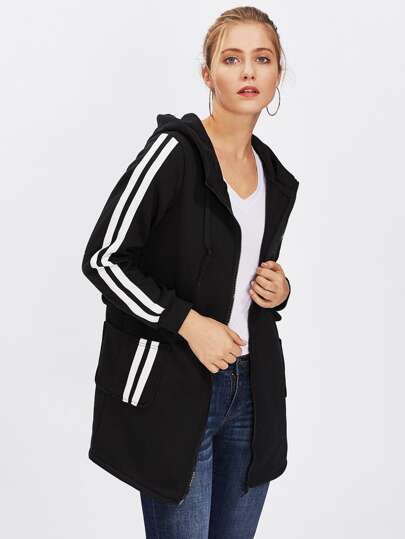 Hooded Striped Sleeve Zip Up Long Coat