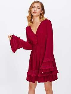 Fringe Lace Applique Bell Sleeve Dress
