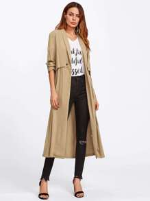 Box Pleated Double Layer Duster Coat
