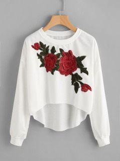 3D Flower Patch Curved Dip Hem Sweatshirt