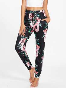 Flower Print Skinny Sweatpants