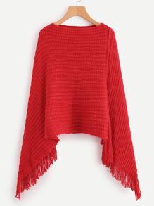 Suéter poncho con fleco