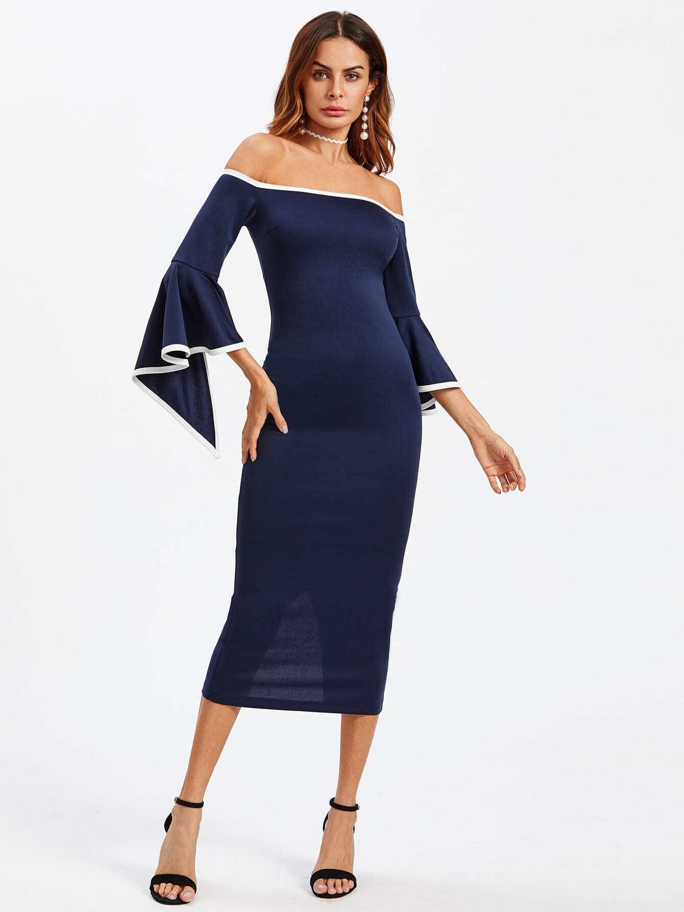 Slit Trumpet Sleeve Contrast Binding Bardot Dress pompom trim trumpet sleeve shirred bardot romper