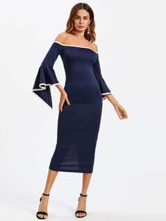 Slit Trumpet Sleeve Contrast Binding Bardot Dress