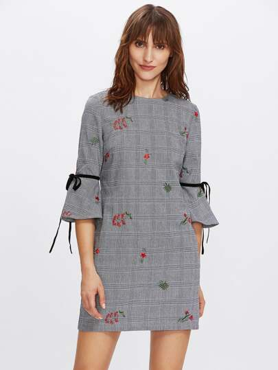 Bow Tie Bell Cuff Embroidered Plaid Dress