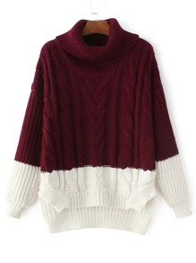 Two Tone Dip Hem Cable Knit Sweater