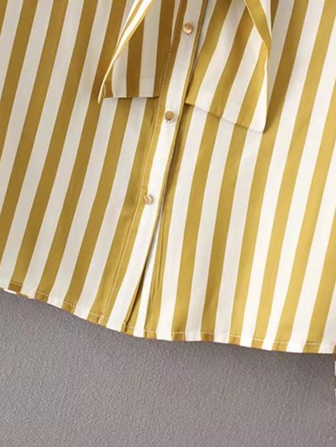 Jabot Detail Striped Blouse