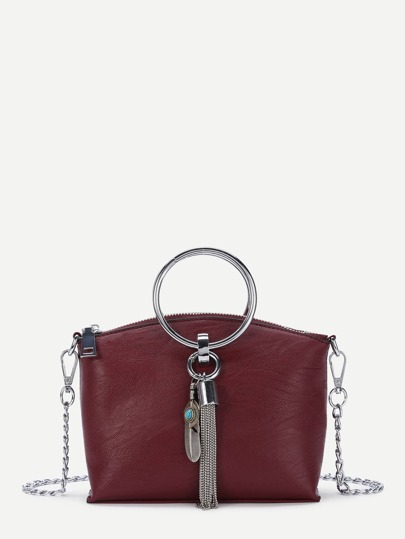 Double Ring Crossbody Chain Bag With Tassel
