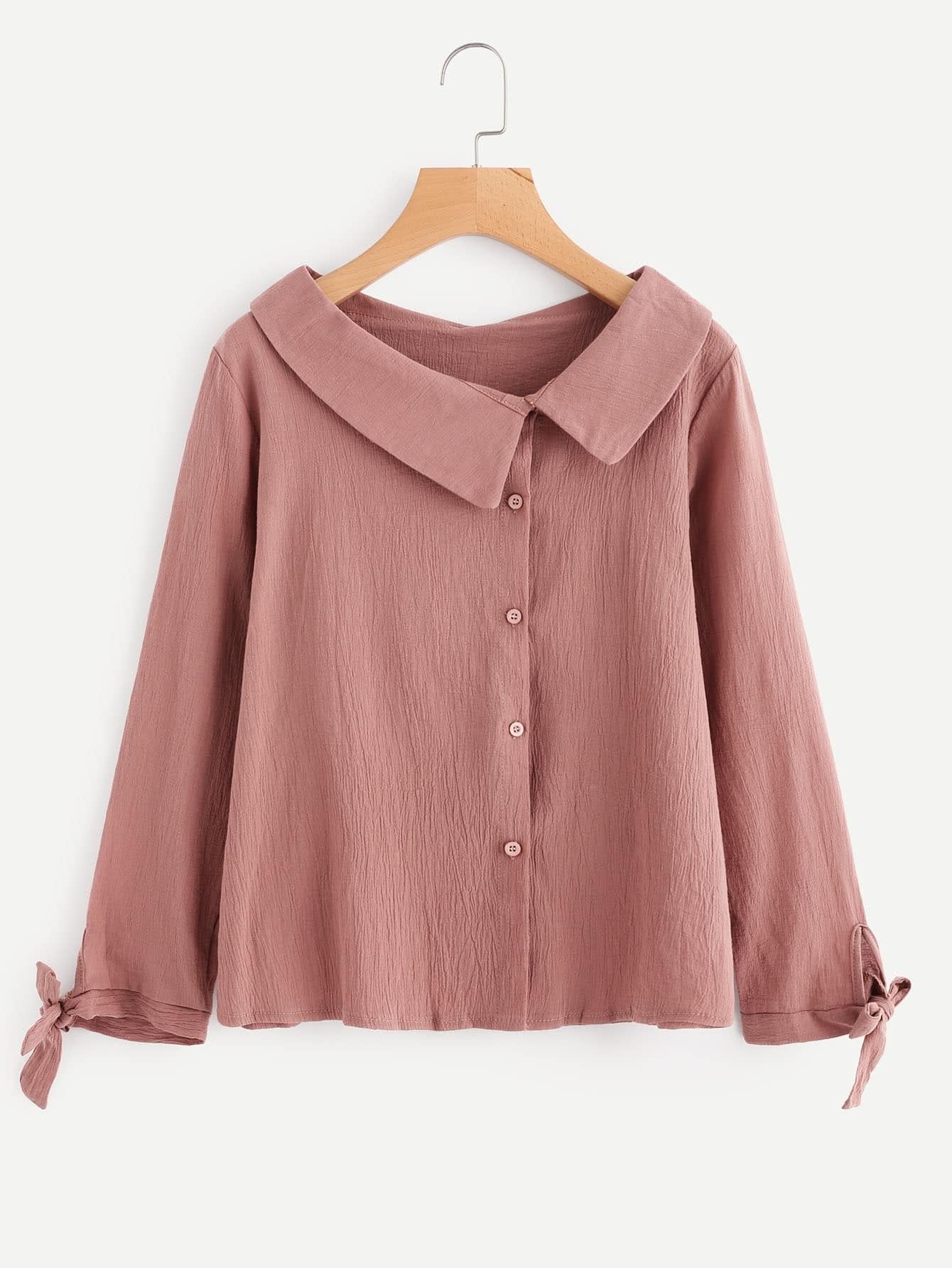 Asymmetric Collar Tie Cuff Shirt