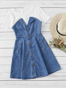 Denim Contrast Ribbed 2 in 1 Dress