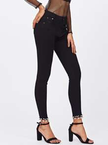Faux Pearl Detail Skinny Ankle Jeans