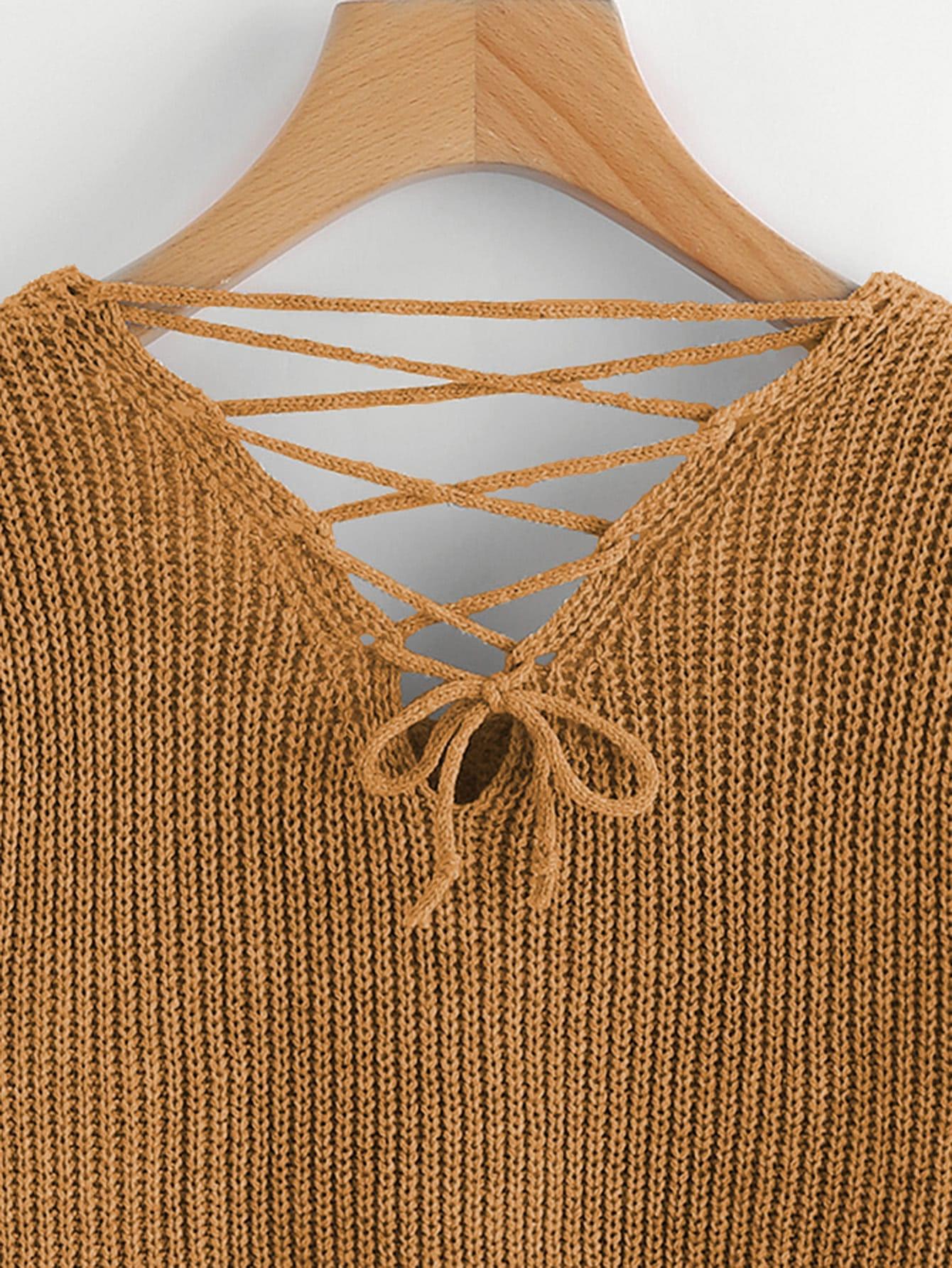 Double V Lace Up Back Chunky Knit Jumper