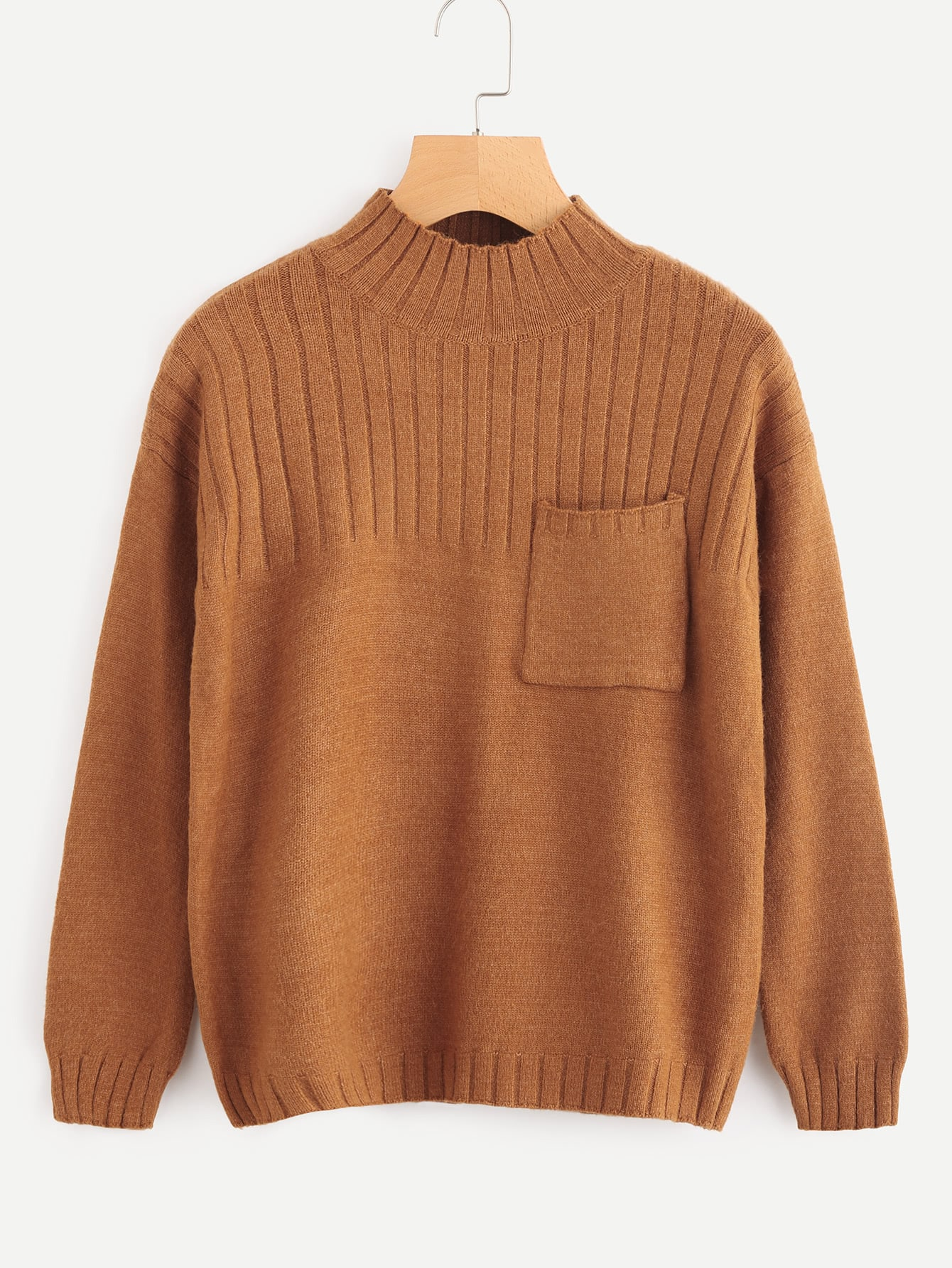 Chest Pocket Ribbed Knit Sweater rkni170918120