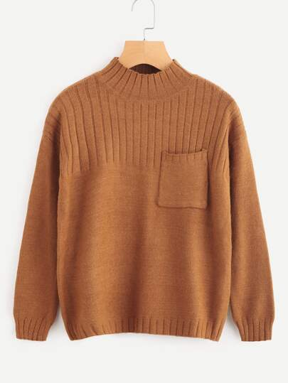 Chest Pocket Ribbed Knit Sweater