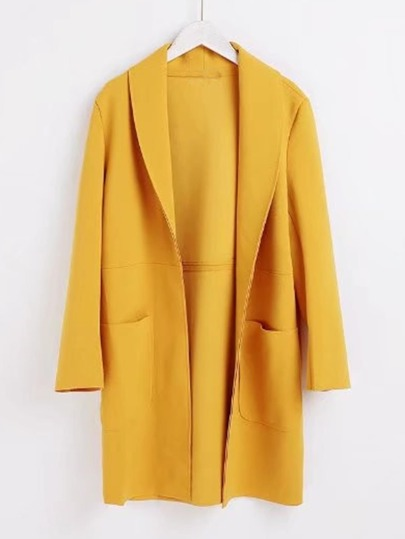 Shawl Collar Longline Faux Leather Coat