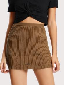 Distressed Mini Skirt BROWN