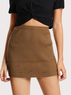 Distressed Mini Skirt BROWN
