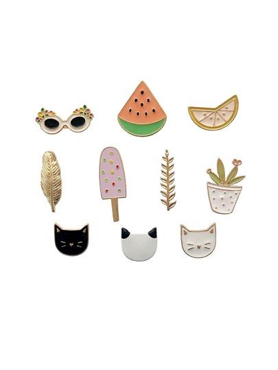 Cat & Plant Design Brooch Set