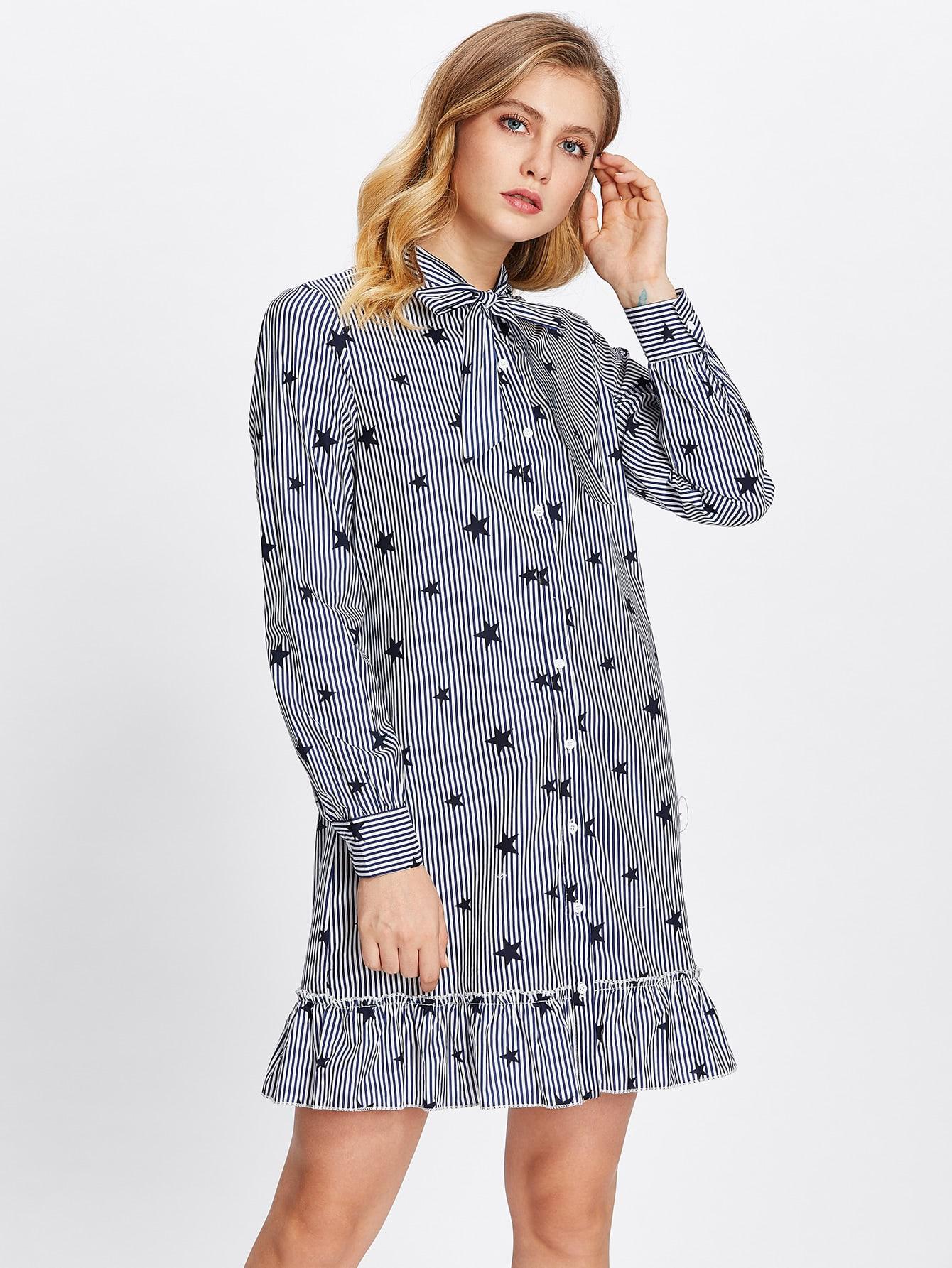 Tie Neck Frill Hem Mixed Print Shirt Dress feron лепнина 11318