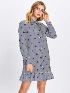 Tie Neck Frill Hem Mixed Print Shirt Dress