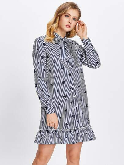 Tie Neck Frill Hem Mixed Print Shirt Dress