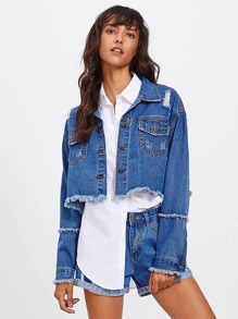 Frayed Hem Ripped Denim Jacket