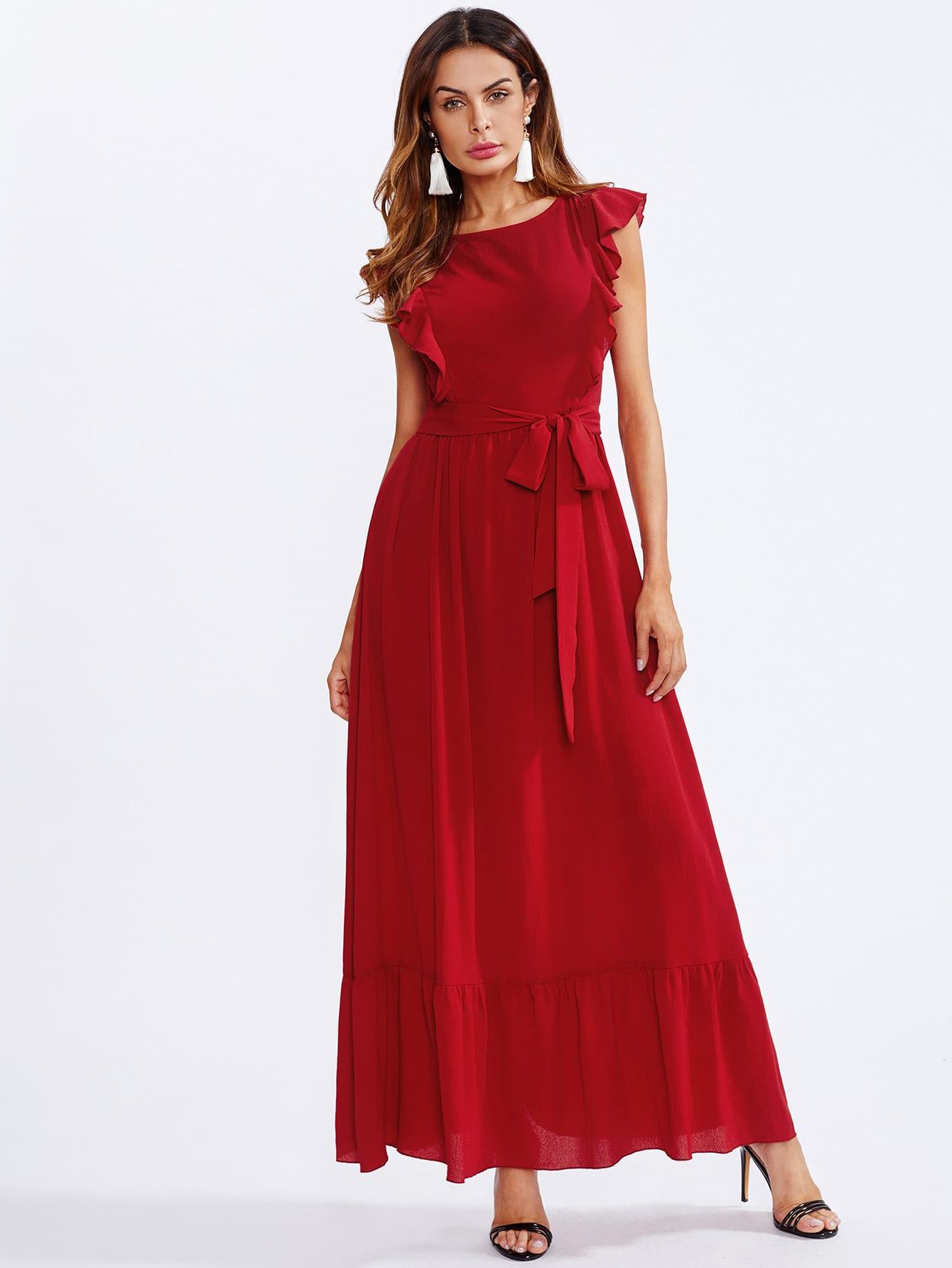 Купить Модное платье с оборкой и поясом, Andy, SheIn