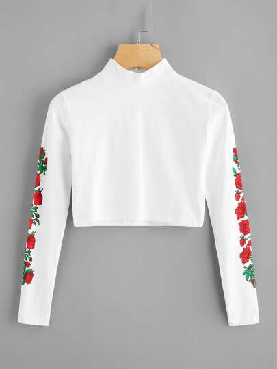 Rose Print Sleeve Crop T-shirt