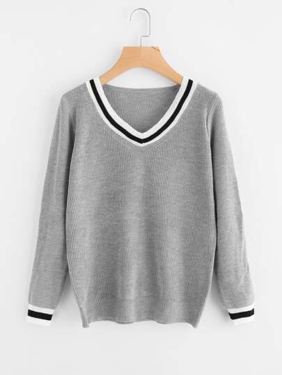 Varsity Striped Trim Sweater