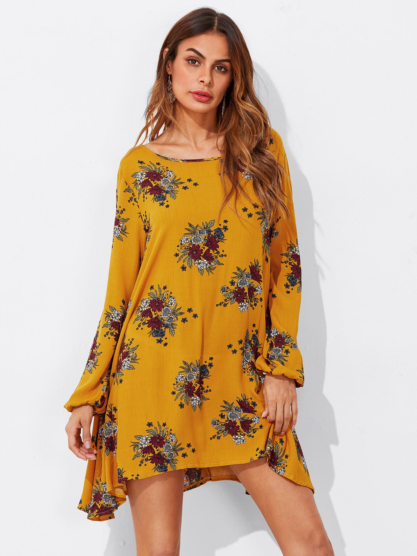 Floral Print Hanky Hem Shift Dress high slit hanky hem metallic halter dress