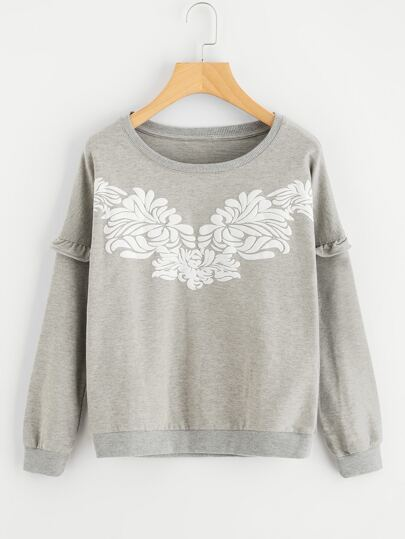 Graphic Printed Frill Trim Sweatshirt
