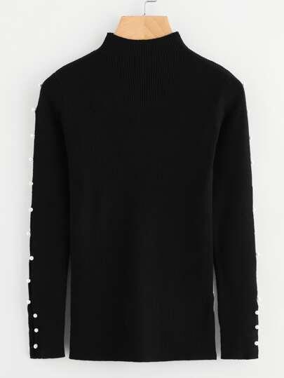 Pearl Embellished Split Sleeve Rib Knit Jumper
