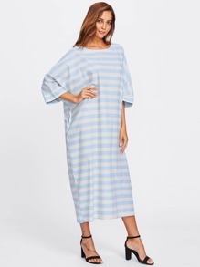 Contrast Stripe Batwing Dress