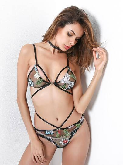 Embroidery Flower Strappy Mesh Lingerie Set