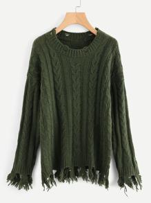 Pull découpé lacéré en tricot à câble avec la chute de l\'épaule