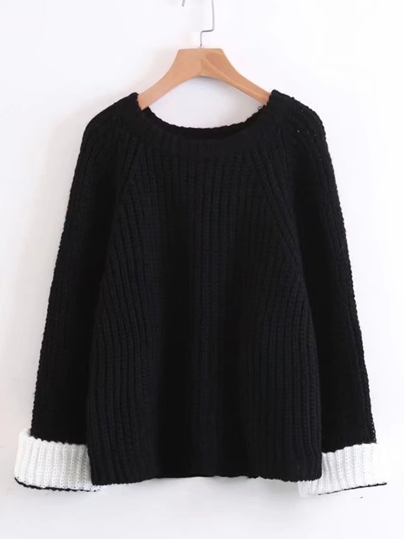 Contrast Cuff Raglan Sleeve Sweater RKNI170908203
