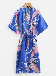 Satin Kimono Schlafanzug mit Pfaumuster und Gürtel